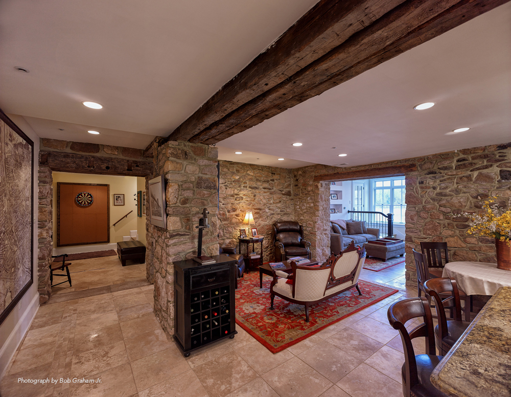 Another View Of The Refinished Basement, Matching The Stone And Woodwork Of  The Rest Of