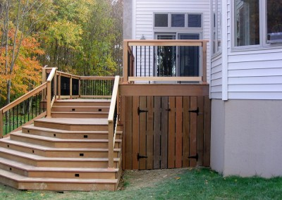 Custom storage area under the deck addition