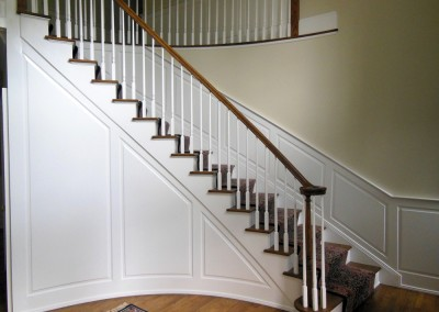 Custom wainscoting on this staircase