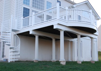 Elegant second floor elevated deck built to match the style of the home
